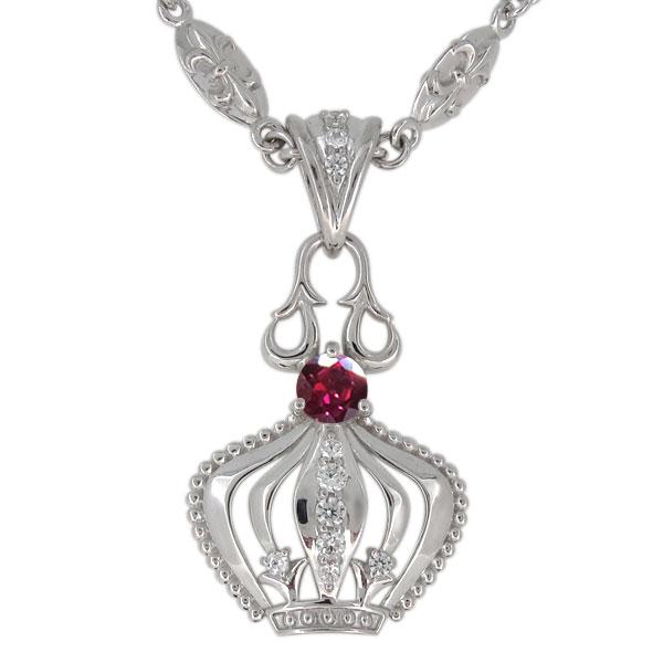 3/20限定AM10時~ プラチナ ルビー ネックレス メンズ 王冠モチーフ 7月誕生石 ペンダント crown