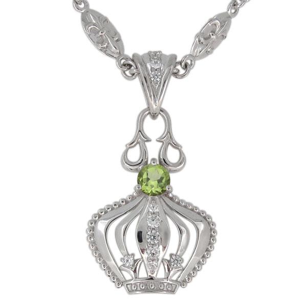 プラチナ ペリドット ネックレス メンズ 王冠モチーフ 8月誕生石 ペンダント crown