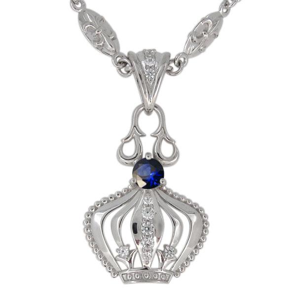 プラチナ サファイア ネックレス メンズ 王冠モチーフ 9月誕生石 ペンダント crown