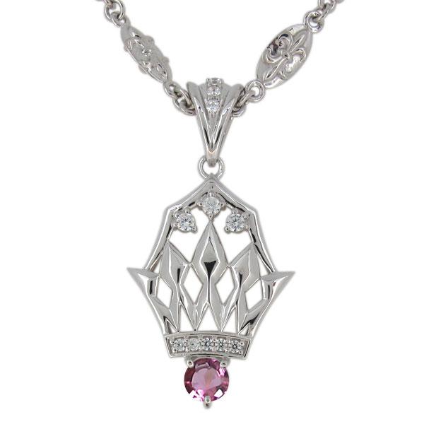 ピンクトルマリン ネックレス メンズ プラチナ 10月誕生石 ペンダント crown