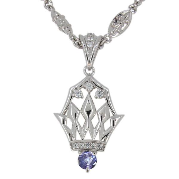 3/20限定AM10時~ タンザナイト ネックレス メンズ プラチナ 12月誕生石 ペンダント crown