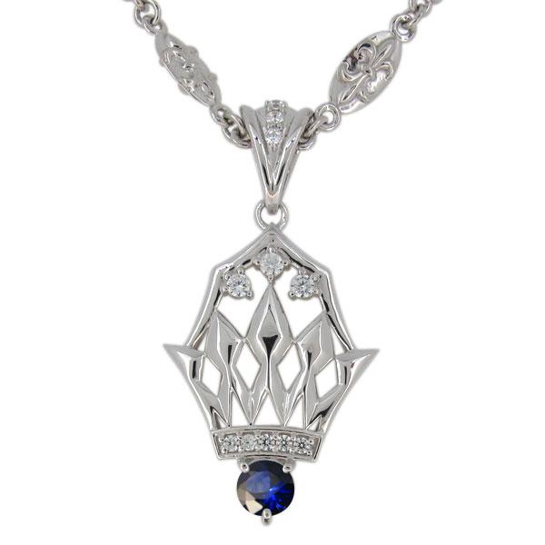 サファイア ネックレス メンズ プラチナ 9月誕生石 ペンダント crown