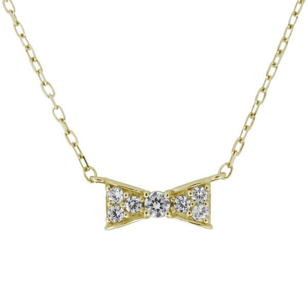 23日20時~ ネックレス リボン りぼん 天然石 ダイヤモンド 10金 レディース 可愛い 母の日 プレゼント