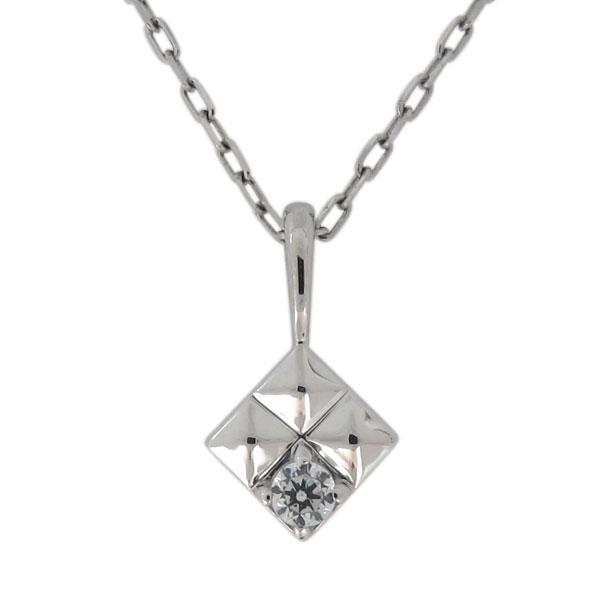23日20時~ プラチナ 一粒 ネックレス 天然石 ダイヤモンド ペンダント スタッズ ピラミッド
