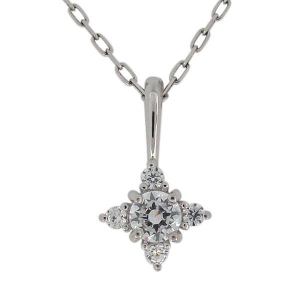 プラチナ ネックレス シンプル ダイヤモンド レディースペンダント 上品 大人可愛い クリスマス プレゼント
