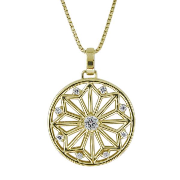 ネックレス 18金 メンズ 天然石 ダイヤモンド 透かし彫り 麻の葉 和風