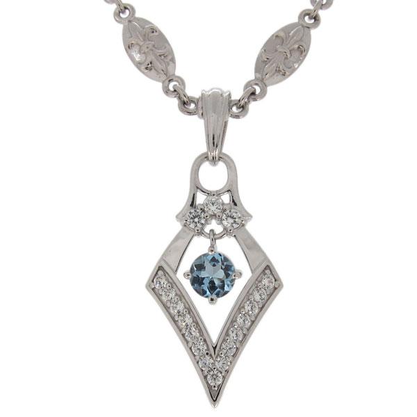 プラチナ ネックレス 百合の紋章 メンズ アクアマリンサンタマリア 3月誕生石 ひし形