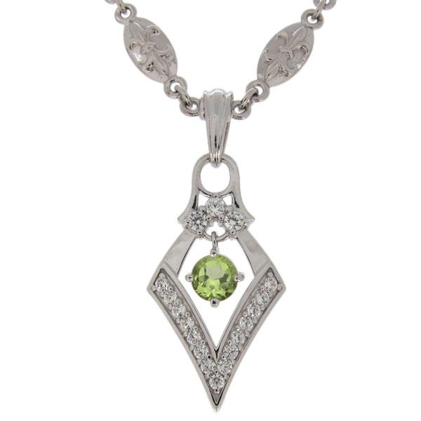 プラチナ ネックレス 百合の紋章 メンズ ペリドット 8月誕生石 ひし形