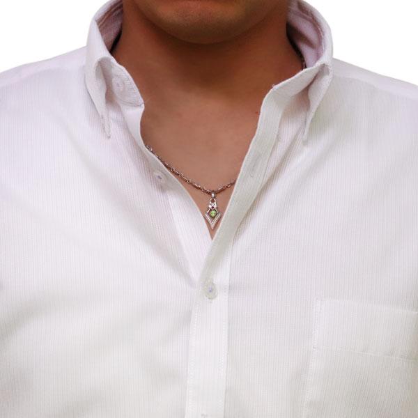 メンズ ネックレス 8月誕生石 ペリドット 百合の紋章 ひし形 10金76gYvbfy