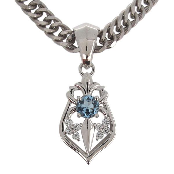 プラチナ ネックレス メンズ ユリの紋章 天然石 選べる ペンダント