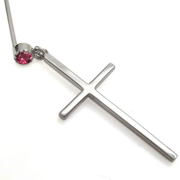 プラチナ ルビー メンズピアス クロスピアス 十字架 レディース 揺れるピアス 母の日 プレゼントBWdCorxe