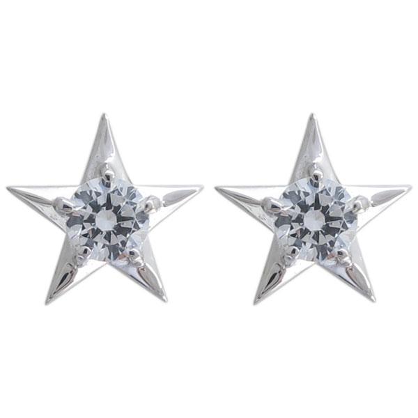プラチナ スターピアス 星 ダイヤモンドピアス メンズ