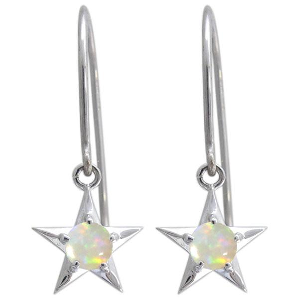 プラチナ 可愛い 星ピアス オパールピアス レディース 母の日 プレゼント