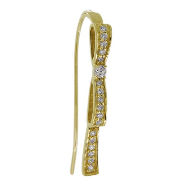 リボン ピアス レディース 10金 ダイヤモンド 4月誕生石 りぼん 片耳 フックピアス 母の日 プレゼント