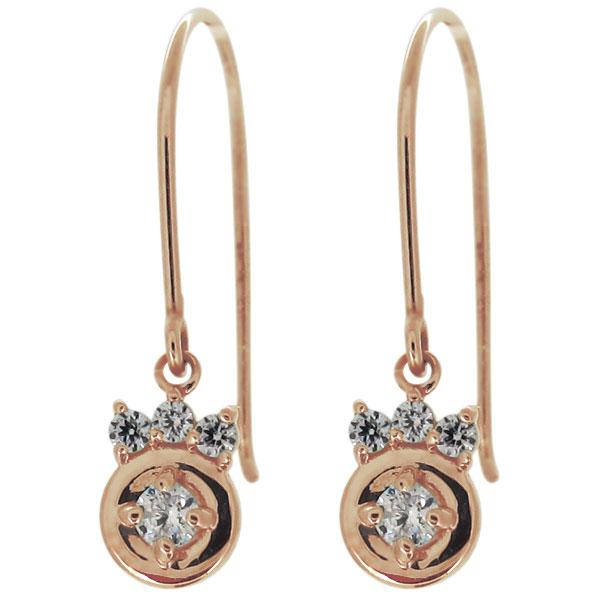 ピアス レディース 揺れる 天然石 ダイヤモンド 10金 フック 小ぶり 母の日 プレゼント