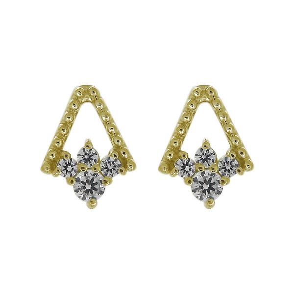 K18 18金 ピアス 天然石 ダイヤモンド レディース スタッドピアス ミル打ち 母の日 プレゼント