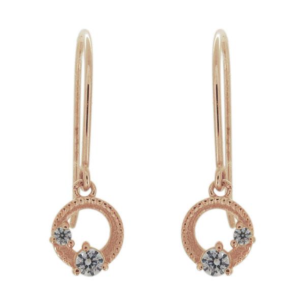 ピアス 月 星 揺れる 4月誕生石 ダイヤモンド 10金 レディース フック 母の日 プレゼント