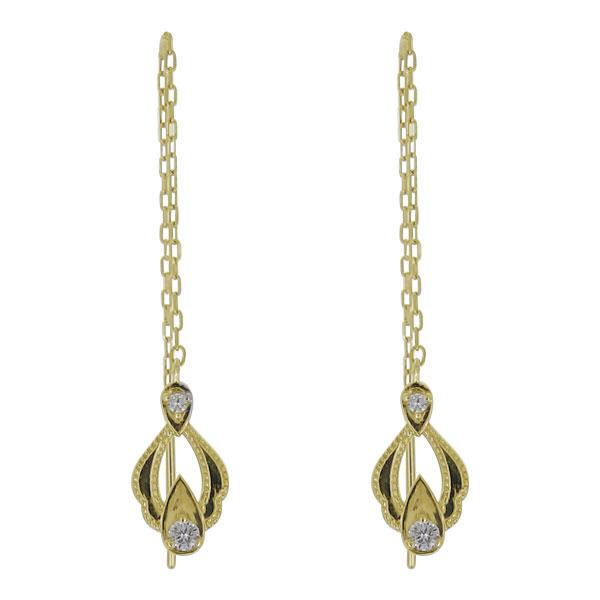 レディース ピアス 18金 天然石 ダイヤモンド 揺れるピアス ロングチェーン 母の日 プレゼント
