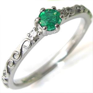 【10%OFF】ピンキーリング エメラルドリング 指輪 K18WG