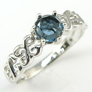 【10%OFFクーポン】5日23:59迄 ロンドンブルートパーズ リング アンティーク ローズカット K18 11月誕生石 指輪