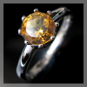 【10%OFF】シトリン・リング・王子の王冠・K10・クラウン・指輪・大粒・約6mm
