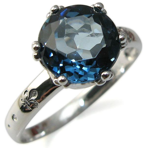 9/11 1:59迄11月誕生石 大粒 ロンドンブルートパーズ リング k10 指輪 10金 クラウン レディースリング