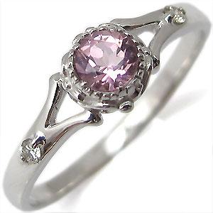 ピンクトルマリン・リング・プラチナ・シンプル・エンゲージリング・婚約指輪