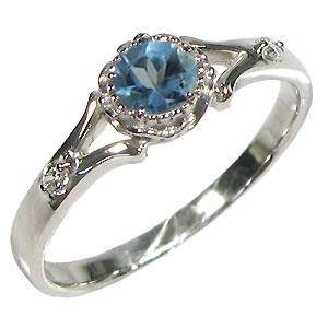 ブルートパーズ・リング・10金・シンプル・エンゲージリング・婚約指輪