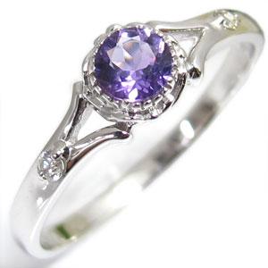 【10%OFFクーポン】5日23:59迄 アメシスト・リング・18金・シンプル・エンゲージリング・婚約指輪