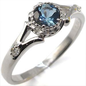 アクアマリン・リング・18金・シンプル・エンゲージリング・婚約指輪