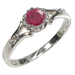 ルビー・リング・18金・シンプル・エンゲージリング・婚約指輪