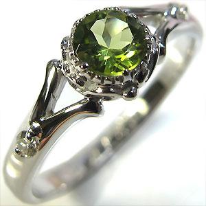 ペリドット・リング・18金・シンプル・エンゲージリング・婚約指輪