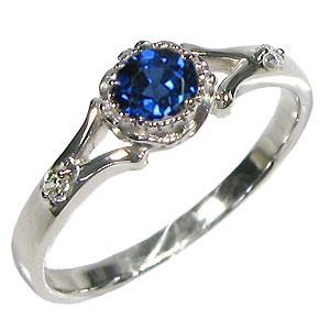 サファイア リング 18金ゴールド エンゲージリング 婚約指輪