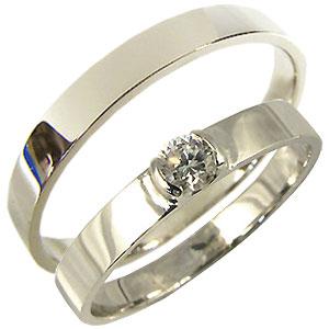 プラチナ・ペアリング・ダイヤモンド・結婚指輪・マリッジリング・鏡面仕上げ