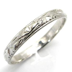 5/15限定 ダイヤモンド・結婚指輪・シンプル・プラチナ・彫金・甲丸リング・マリッジリング