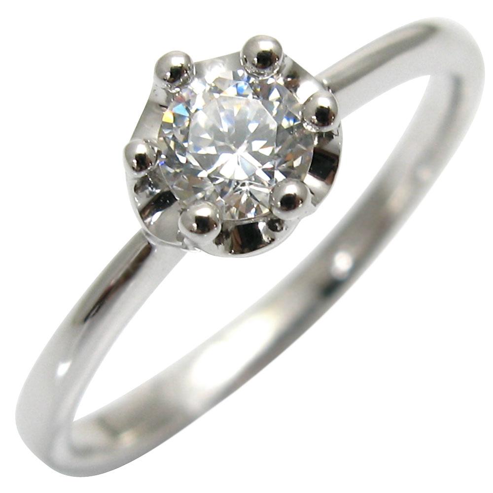 一粒・ダイヤモンド・リング・18金・王冠・指輪・シンプル