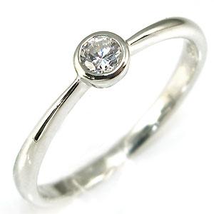 ダイヤモンドリング・18金・一粒・ピンキーリング