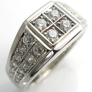 送料無料 キュービックジルコニア メンズ シルバー925 指輪 キュービックジルコニア・シルバー・925・地金・印台リング・メンズ