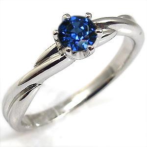 サファイヤ・K18ゴールド・リング・シンプル・指輪・一粒