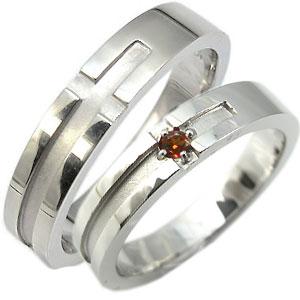 ペアリング シルバーリング 指輪 ガーネット リング クロス