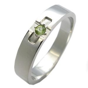 プラチナ・ペリドット・リング・クロスリング・結婚指輪