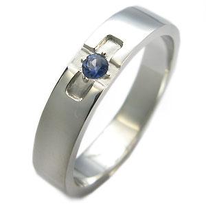 プラチナ・サファイヤ・リング・クロスリング・結婚指輪