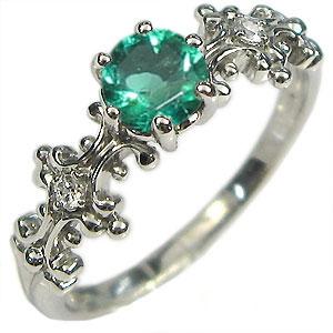 K18・婚約指輪・エメラルド・大粒・リング・エンゲージリング