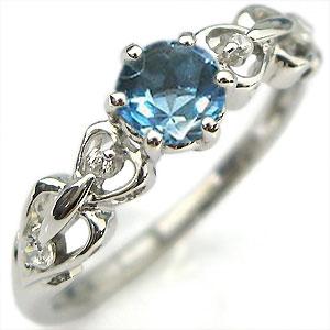 【10%OFF】4日20時~ K18・リング・ブルートパーズ・エンゲージリング・ハート・一粒・婚約指輪