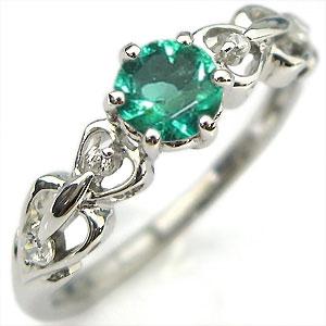 婚約指輪 エメラルド リング プラチナ ハート エンゲージリング
