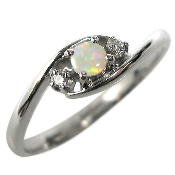 9/11 1:59迄18金 オパール 指輪 婚約指輪 K18 エンゲージリング
