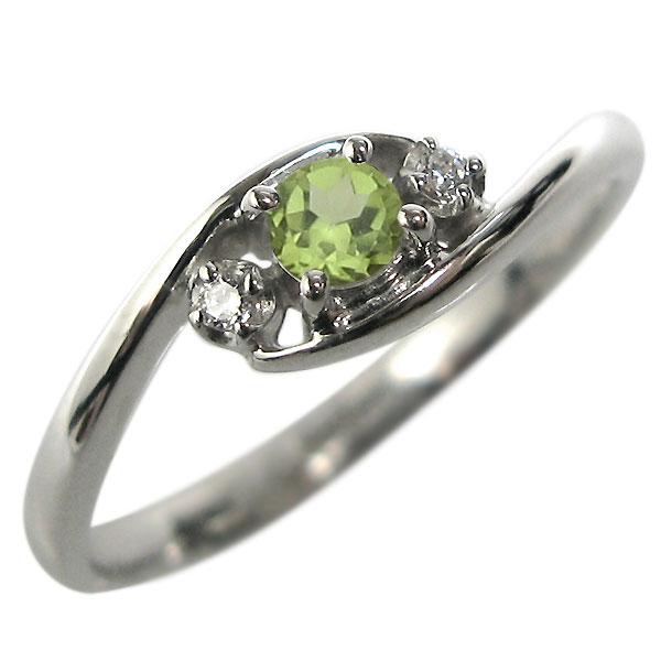 プラチナ・エンゲージリング・ペリドット・婚約指輪