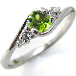 K18 ペリドット リング 大粒 婚約指輪 エンゲージリング