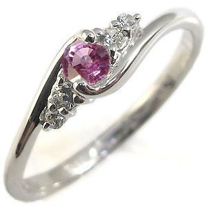 ピンクサファイア・指輪・シンプル・一粒・K18・リング