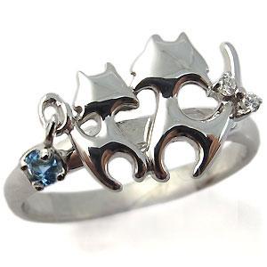 ネコ(猫)・リング・アクアマリン・サンタマリア・リング・18金・指輪